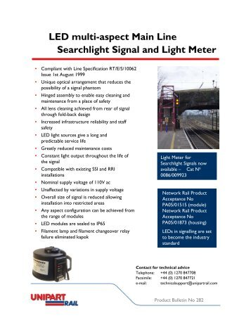 LED 4-aspect long range colour signal light - Unipart Rail