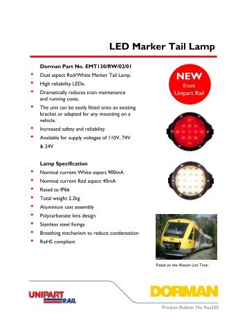 LED Train Marker/Tail Lamp - Unipart Rail