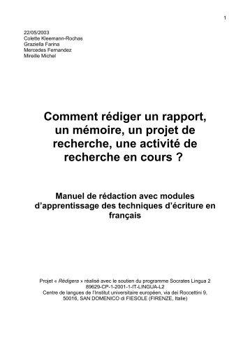 Comment rédiger un rapport, un mémoire, un projet de recherche ...