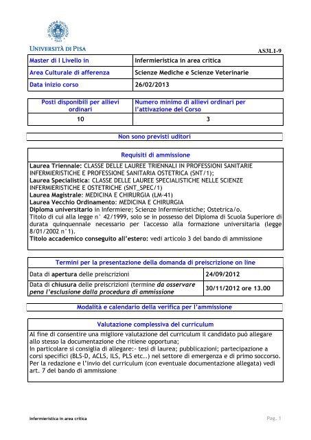 Calendario Unipi.Infermieristica In Area Critica Universita Degli Studi Di Pisa