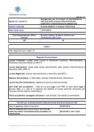 Management per le funzioni di coordinamento nell - Università di Pisa