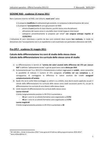 Indicazioni operative - Offerta formativa 2011-2012