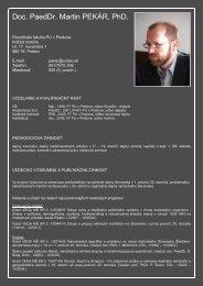 Doc. PaedDr. Martin PEKÁR, PhD. - Prešovská univerzita v Prešove