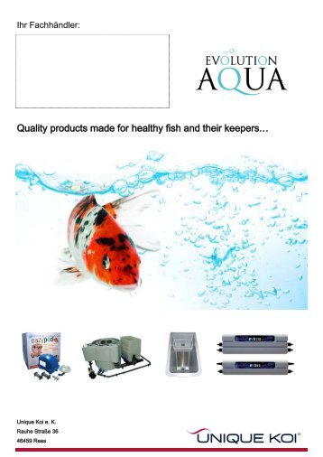 Quality products made for healthy fish and their ... - Unique Koi