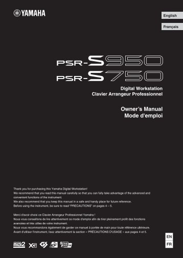 PSR-S950/PSR-S750 Owner's Manual - Full Compass