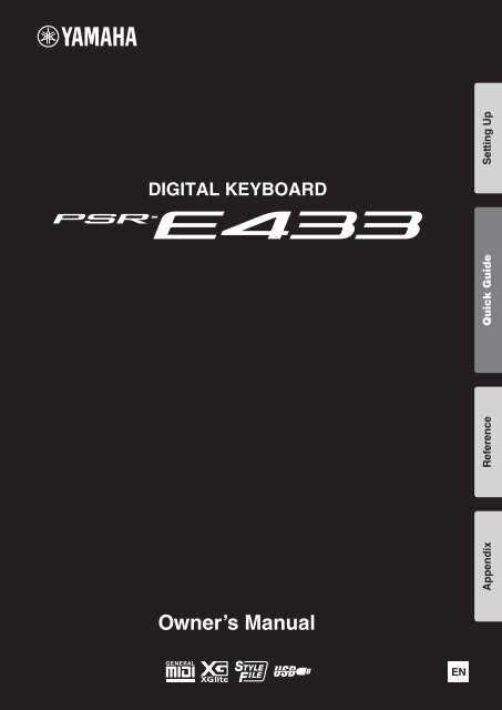 PSR-E433 Owner's Manual - Yamaha Downloads