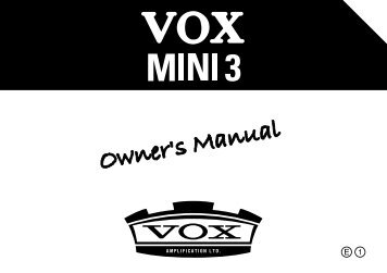 MINI3 Owner's Manual - The VOX Showroom - www.voxshowroom ...