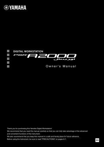PSR-A2000 Owner's Manual - UniqueSquared.com