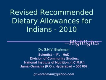 Revised Recommended Dietary Allowances for Indians - 2010 ...