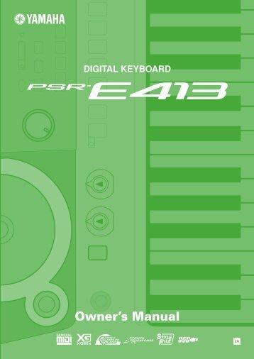 PSR-E413 Owner's Manual - Yamaha