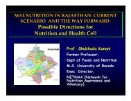 Possible Directions for Nutrition and Health Cell - University of ...