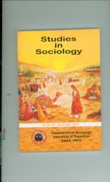Studies in Sociology(Journal) - University of Rajasthan