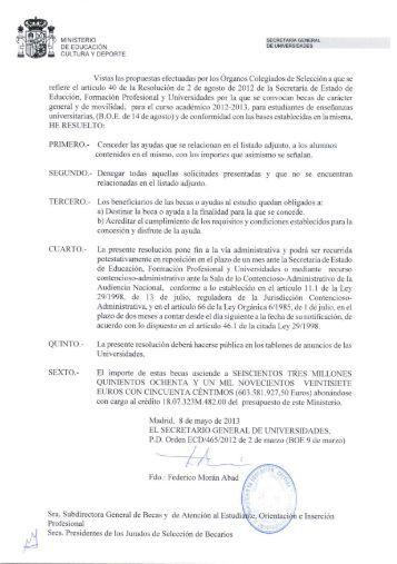 Resolución y Beneficiarios de becas Generales - Universidad de La ...
