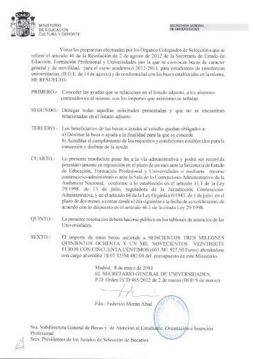 Resolución y Beneficiarios de becas de Movilidad - Universidad de ...