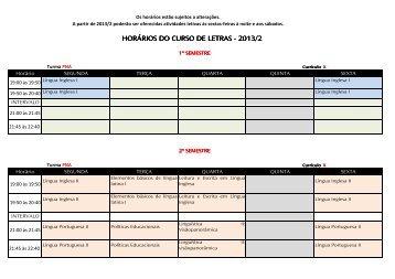 HORÁRIOS DO CURSO DE LETRAS - 2013/2 - UniRitter