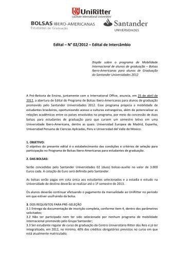 Edital – N° 02/2012 – Edital de Intercâmbio - UniRitter