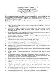 Linguaggi e Sistemi Formali – LS Anno Accademico 2008-2009 Test ...