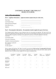 Letter of recommendation - Università degli Studi di Roma Tor Vergata