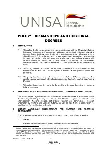 Policy for master's and doctoral degrees - University of South Africa