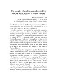 The legality of exploring and exploiting resources in Western Sahara ...