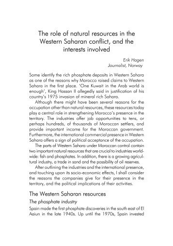 The role of natural resources in the Western Saharan conflict, and ...