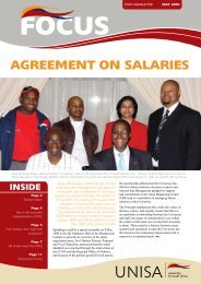 AGREEMENT ON SALARIES - University of South Africa