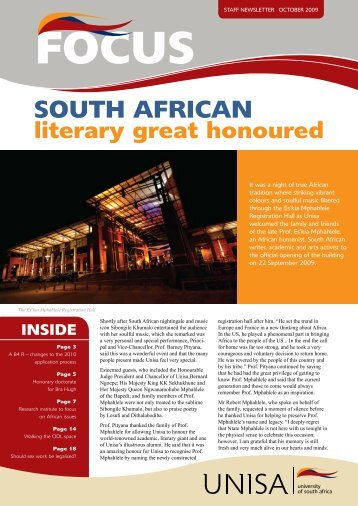 SOUTH AFRICAN literary great honoured - University of South Africa