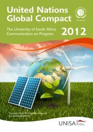 UNGC progress report 2012 - University of South Africa