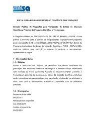 EDITAL PARA BOLSAS DE INICIAÇÃO CIENTÍFICA PIBIC ... - Unisa