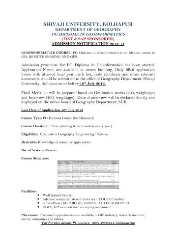 Admission notification PG Diploma in ... - Shivaji University