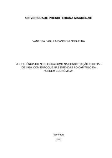 A influência do neoliberalismo na Constituição Federal de ... - Unisc
