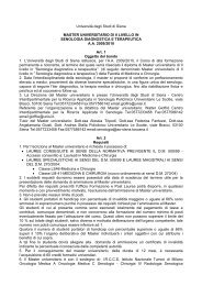 Università degli Studi di Siena MASTER UNIVERSITARIO DI II ...