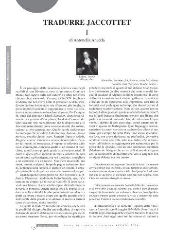 TRADURRE JACCOTTET I - Università degli Studi di Siena