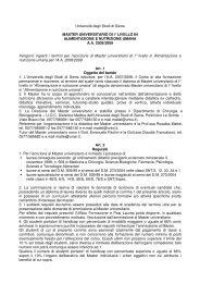 Università degli Studi di Siena MASTER UNIVERSITARIO DI I ...