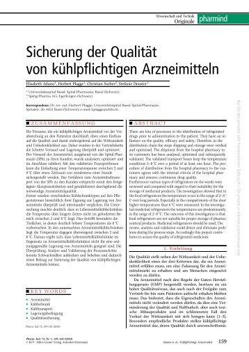 Sicherung der Qualität von kühlpflichtigen Arzneimitteln