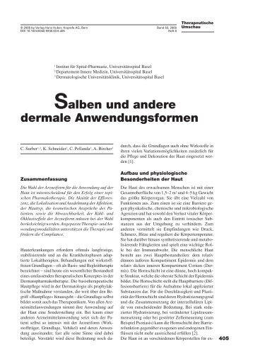 Salben und andere dermale Anwendungsformen - Universitätsspital ...