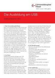 Die Ausbildung am USB: - Universitätsspital Basel