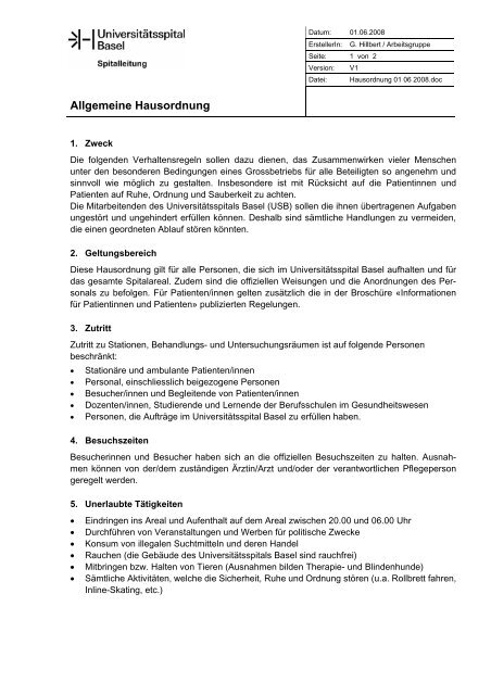 Allgemeine Hausordnung - Universitätsspital Basel