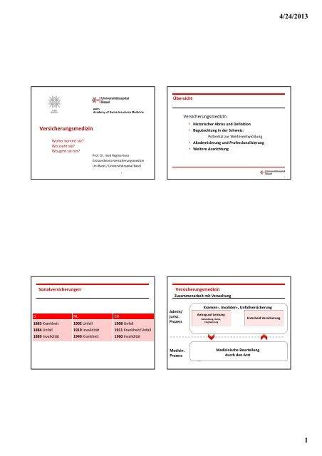 Versicherungsmedizin - Universitätsspital Basel
