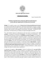 Insediamento CUG - Università degli Studi di Sassari