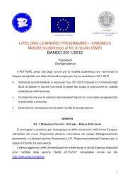 BANDO 2011/2012 - Università degli Studi di Sassari