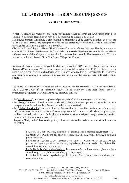 LE LABYRINTHE - JARDIN DES CINQ SENS ®
