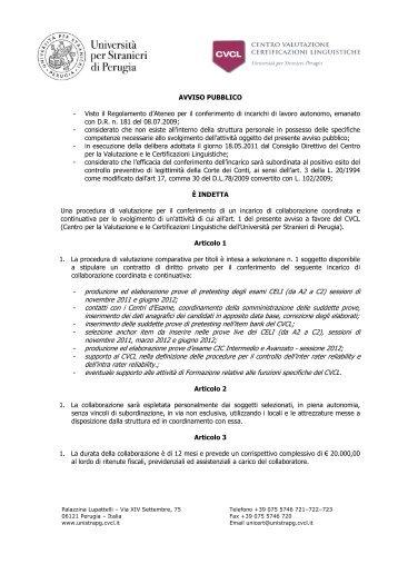 bando - Università per Stranieri di Perugia