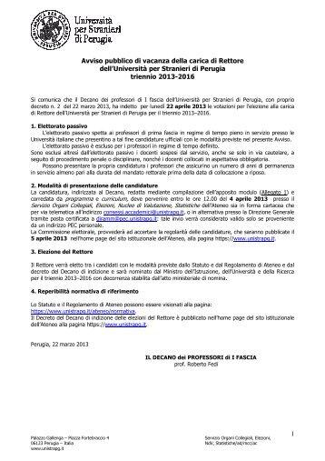 Avviso - Università per Stranieri di Perugia