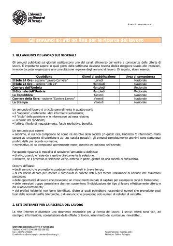 Annunci e siti web per la ricerca del lavoro - Università per Stranieri ...