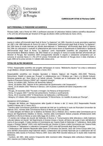 Floriana Calitti - Università per Stranieri di Perugia