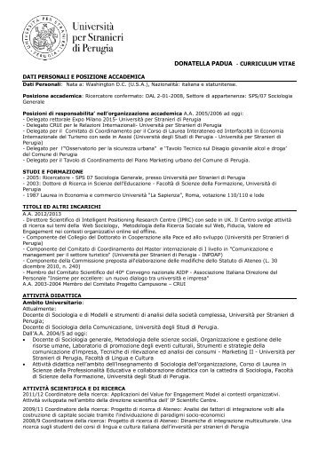 donatella padua - Università per Stranieri di Perugia