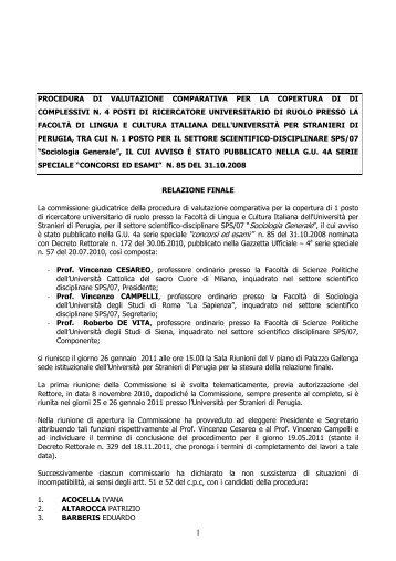 relazione finale - Università per Stranieri di Perugia