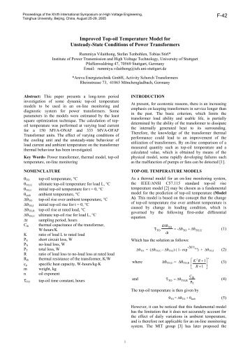 Improved Top-oil Temperature Model for Unsteady-State Conditions ...
