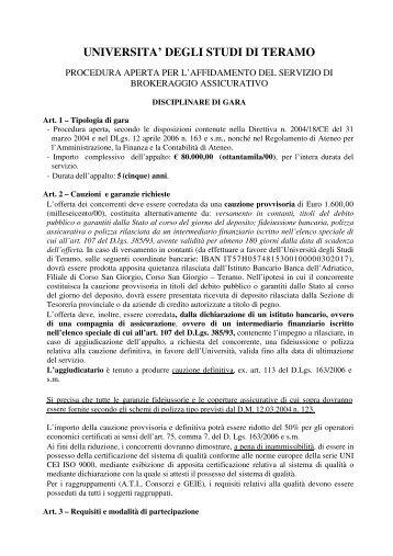 Disciplinare di gara - Università degli Studi di Teramo